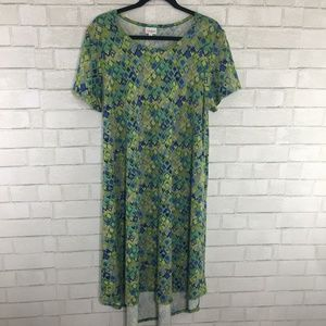 LuLaRoe Carly Dress, Size XL, Blue/Green Geometric